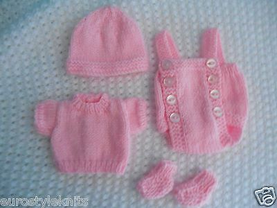 "Doll Clothes Pink Vintage  Style knitted set for baby 13""  fit Am. Character 12"