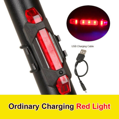 5 LED USB Rechargeable Bike Tail Light Bicycle Safety Cycling Warning Rear Lamp.
