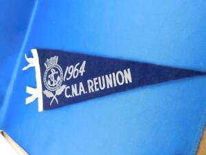 1964-C-N-A-REUNION-CANADIAN-NAVY-CROWN-ANCHOR-FELT-PENNANT-PIN-VINTAGE-SOUVENIR