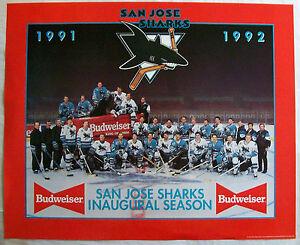 San-Jose-Sharks-Hockey-1991-1992-First-Season-22x18-Poster-NHL-Budweiser-Beer-Ad