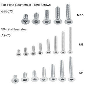 M 2.5 M3 M4 304 A2 Stainless Steel Torx Screw Flat Head Countersunk Hex Socket~·