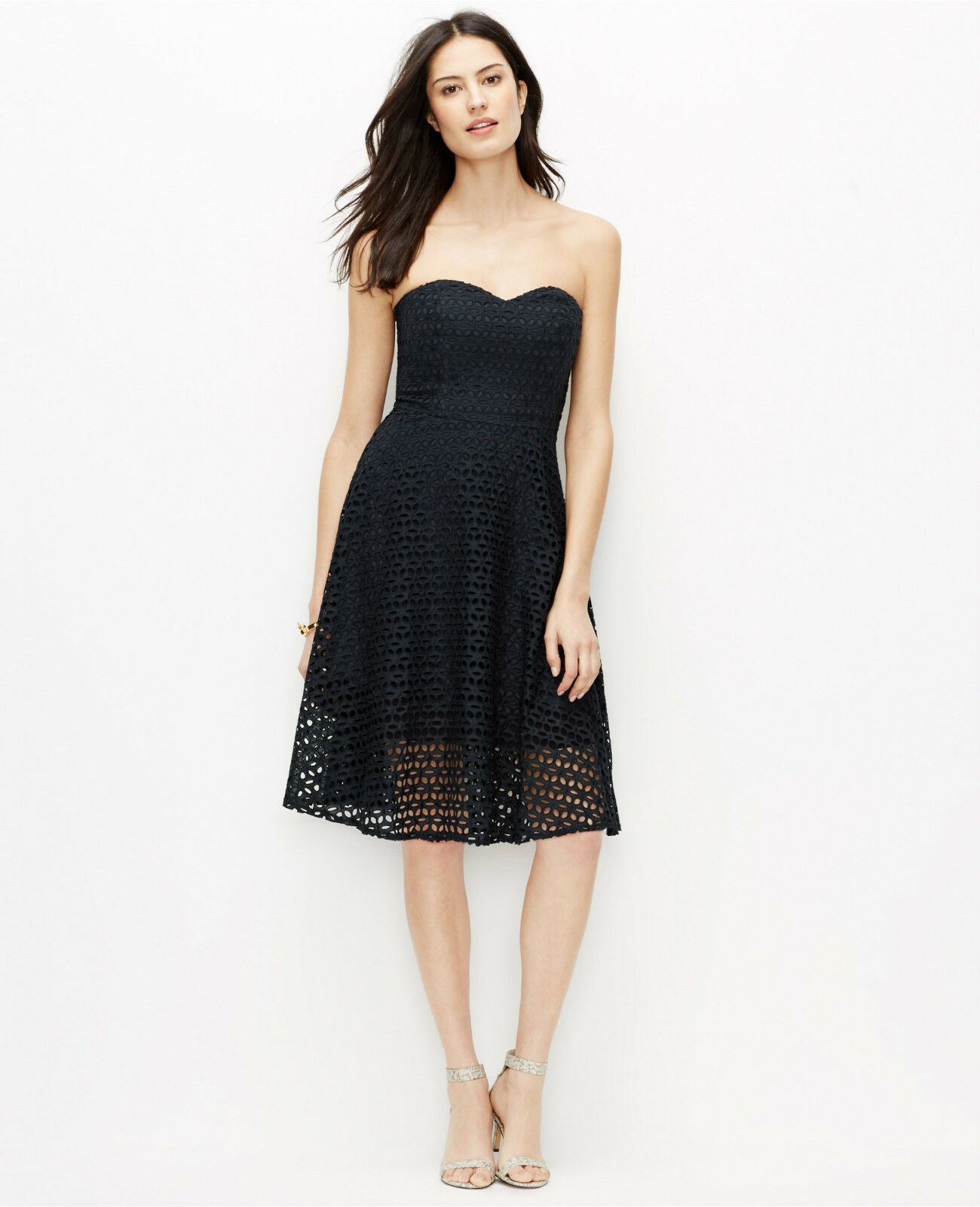 NWT $179 Ann Taylor Strapless Cotton Eyelet Dress Size 4 in Navy ...