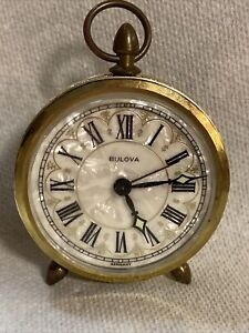 Vintage-Bulova-Wind-Up-Travel-Alarm-Clock-Mother-Of-Pearl-Germany-Rare