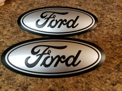 2015-17 Ford F150 front and rear emblem custom MATTE black and INGOT SILVER 9.5/""