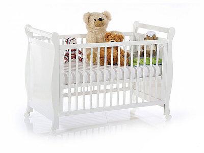 TONY Babybett Kinderbett Gitterbett fürs Kinderzimmer 120x60cm Massivholz | Weiß