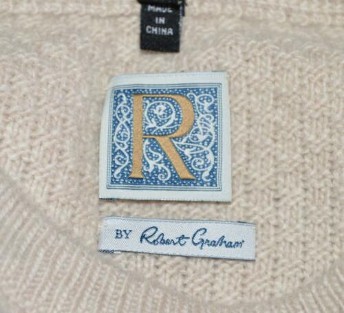 NEW Robert Graham R Collection FORTITUDE $795 Cream Cashmere RAM Sweater XXL