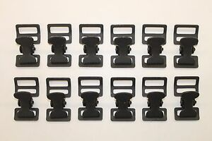"""Military Web Strap T Buckle, Spring Loaded, 1"""" , Mil-Spec, Black. Lot of 12"""