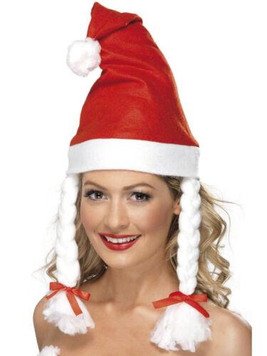Pleats Red White Adults Comedy Fancy Dress Christmas Santa Hat