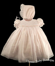 NWT Will'beth Pink Smocked 2pc Dress Bonnet Newborn Baby Girls Boutique Stunning
