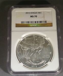2013 American Silver Eagle $1 Dollar Coin, (Brown Label). NGC Graded MS 70