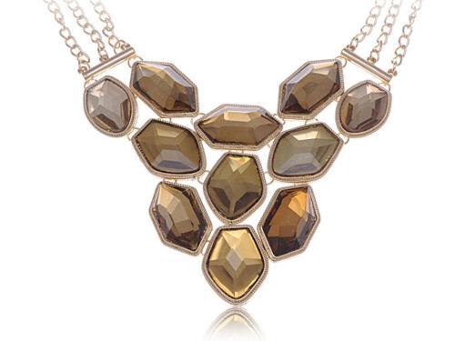 Gold Tone Large Chunky Topaz Crystal Rhinestone Three Chain Adj Fashion Necklace