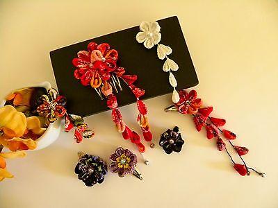 1/4, 1/3 bjd doll Size Japan Chirimen Fabric Kanzashi Kimono Yukata Hair clip