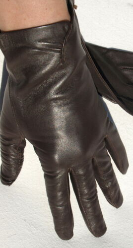Gloves Leather Ladies Emperor Finger without Lining Gathered Dark Brown 8 Classy