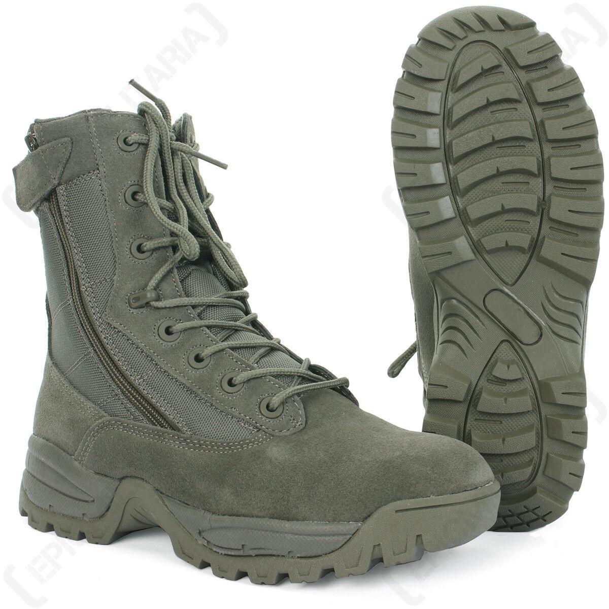 Follaje Tácticos Ejército botas - 2 cremalleras-tan Militar Al Aire Libre Zapatos Todas las Tallas Nuevo