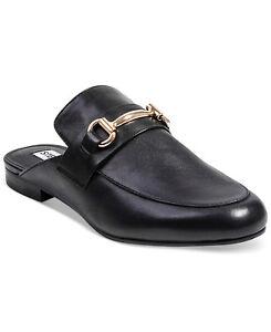 bfaeaff0556 Steve Madden Kandi Slip-On Mules Slides Black Leather Loafer Flat ...