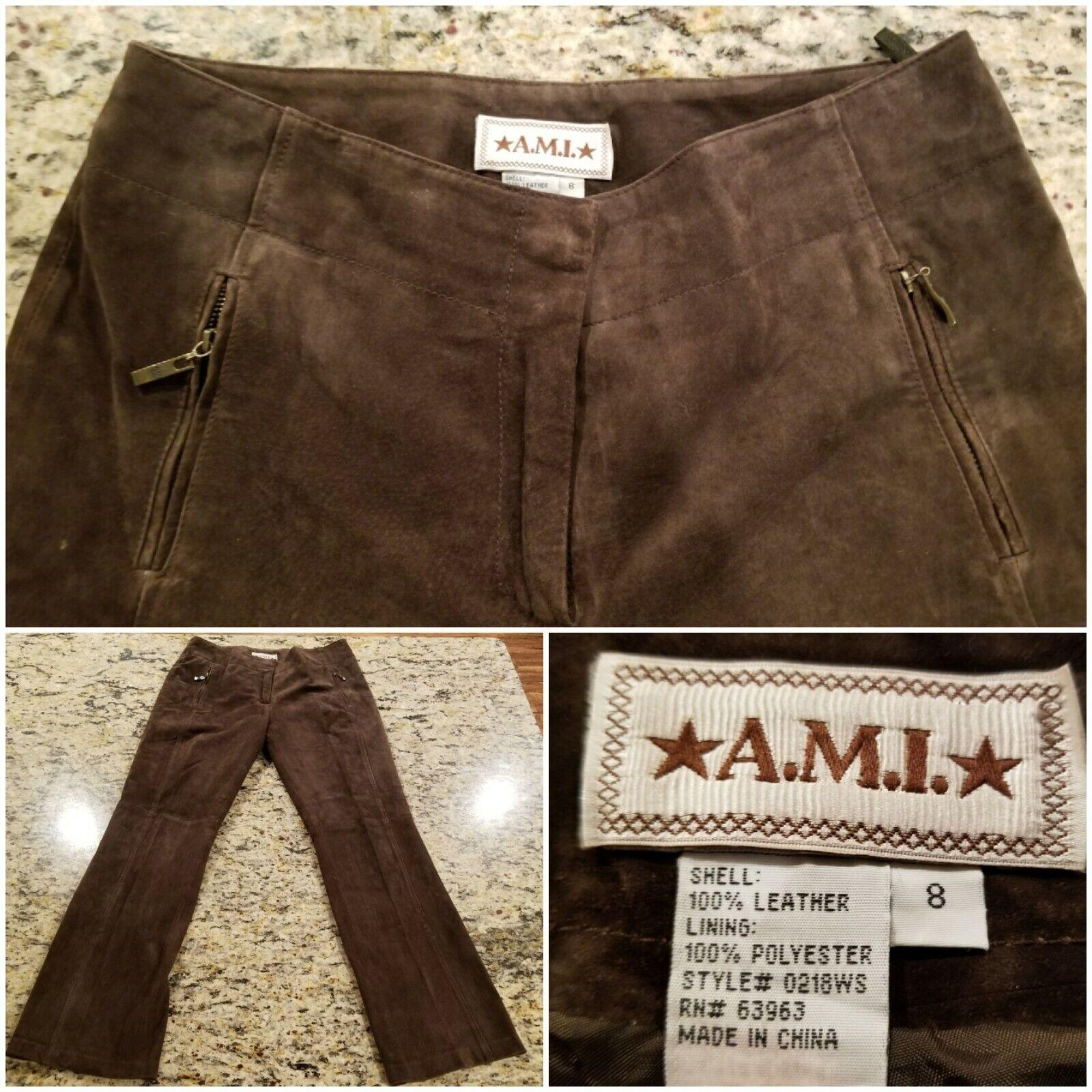 A.M.I. Women's Leather Biker Pants Hippie Brown Size 8 Excellent Condition T