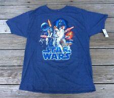Star Wars Blue 50% Cotton-50% Polyester Original Cast Men's T-Shirt Size XL NWT
