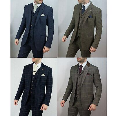 Homme Bleu Marine Bleu 3 Pièce Herringbone Carreaux Costume Rétro Vintage patraque oeillères Tweed