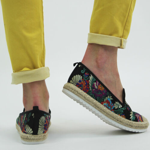 New Womens Ladies Flats Slip On Belly Pumps Embroidery Stud Casual Pumps Shoes