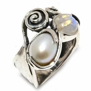 South-Sea-Pearl-Rainbow-Moonstone-925-Sterling-Silver-Ring-Size-8-R-108