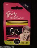 Goody Double Wear 2-in-1 Ponytailer Bracelet, Yellow, Pink, Black And Orange