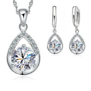 925-Sterling-Silver-Cubic-Zirconia-Crystal-Necklace-Pendant-and-Earring-Set-UK