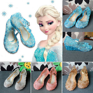 Girls Summer Frozen Queen Elsa Slip On Sandals Princess Party Shinny Jelly Shoes
