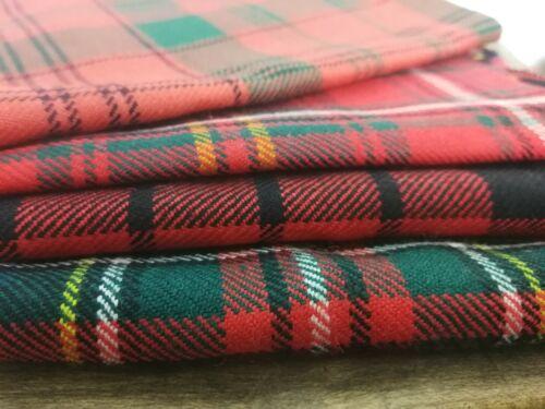 100/% British Wool 100g Patchwork Cloth Red Tartan Bundle Remnants