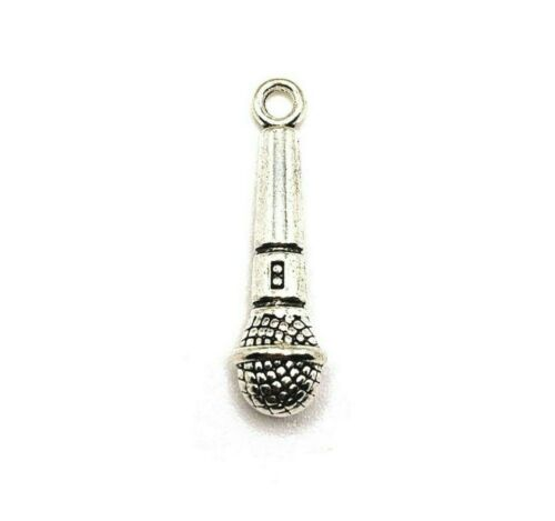 20 or 50 BULK pcs Silver Microphone Charms 4 Musician Charm-US Seller AS297