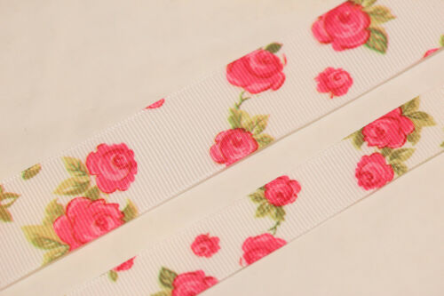 Beautiful Bertie/'s Bows 25mm Ivory Grosgrain Cath Kidtson Style Rose Ribbon