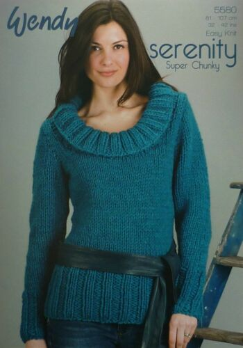 KNITTING PATTERN Ladies Easy Knit Scoop Neck Jumper Super Chunky 5580 Wendy