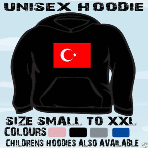 TURKEY TURKISH FLAG EMBLEM UNISEX HOODIE HOODED TOP