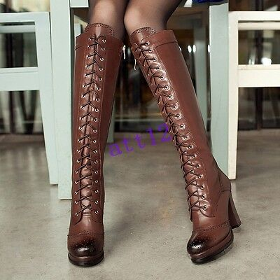 Womens Riding Lace up High Heel Platform Vintage Knee High Boot Shoes YE Plus Sz