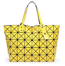 High Quality BAO BAO Issey Miyake Metallic YELLOW TOTE Bag  NEW
