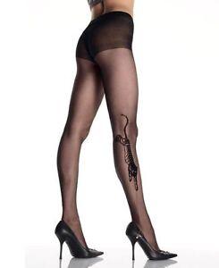 BEAUTIFUL-SHEER-BLACK-TIGER-TATTOO-TIGHTS-PANTYHOSE-LEG-AVENUE-CRYSTAL-ROCKER