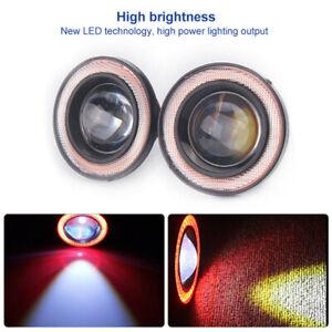 Rojo-2-5-034-Pulgadas-Coche-COB-LED-Luz-de-Niebla-Proyector-ANGEL-Ojos-Halo-Anillo-DRL-Bombilla