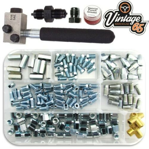 "Classic Car Brake Pipe Fittings Male Female 3//8/"" 7//16/"" UNF SAE Flaring Tool Kit"