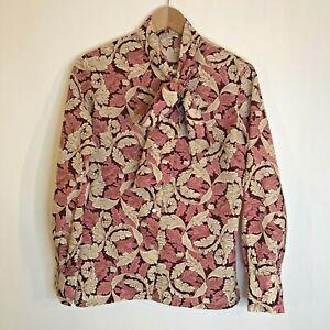 Vintage-Blusa-Prenda-para-el-torso-UK-14-Crema-Rosa-patron-de-la-hoja-de-Manga-Larga-Pecho-36-034
