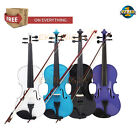3/4 4/4 Full Size Natural Acoustic Wood Violin Fiddle + Case +Bow+Rosin Gift EK