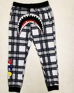 Hudson-Outerwear-100-AUTHENTIC-Men-039-s-LARGE-plaid-shark-mouth-track-pants