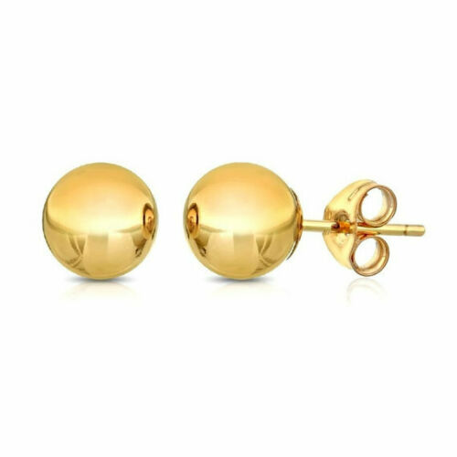 14K Solid Yellow Gold Ball Earrings 8 mm With Genuine 14K Gold Push backs