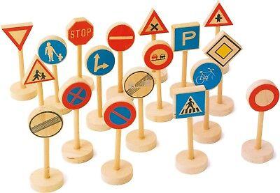 Verkehrsschilder Set Holz 18 Teile Ca. 5 X 3,5 X 10 Cm Um Jeden Preis