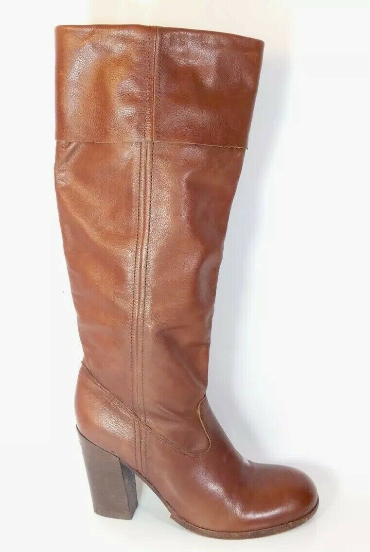 ASH Brown Leather High Heel Knee Length Boots Eu 38