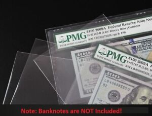 200 Coin Slab Holder Protective Sleeves Self adhesive for PCGS NGC 10 cmx 7cm