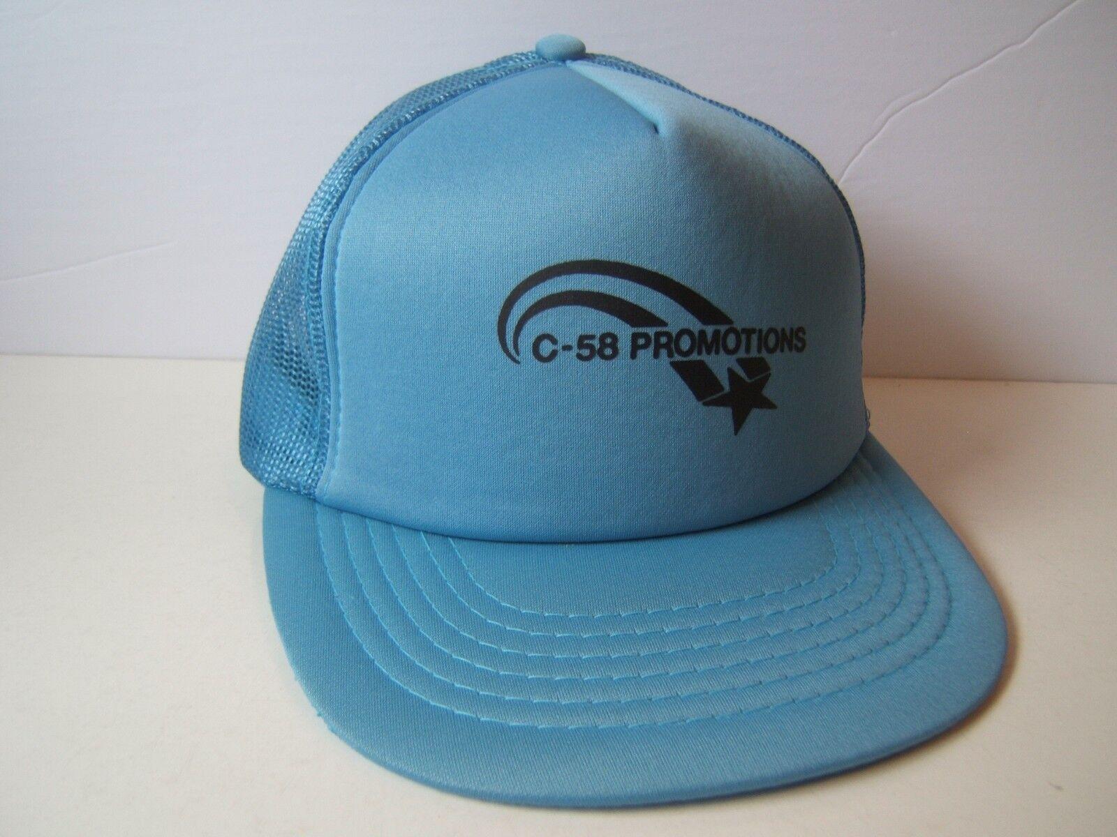 C-58 Promotions Hat Snapback Vintage Blue Snapback Hat Trucker Cap ff7221