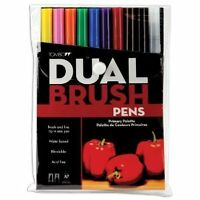 Tombow Dual Brush Pen Set, 10-pack, Primary Colors (56167) , New, Free Shipping on sale