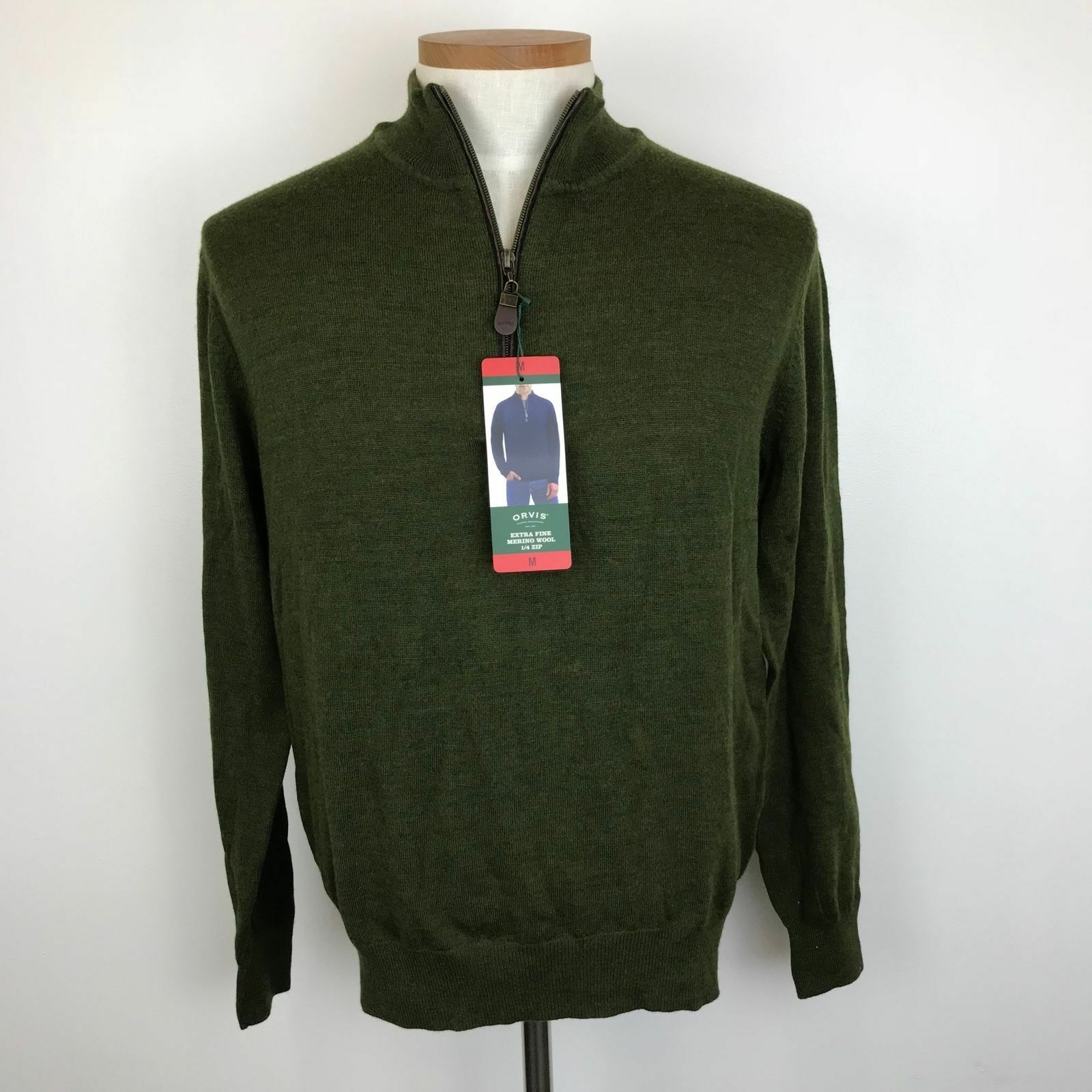 NWT, Orvis Classic Fit Quarter Zip Wool  Herren Pullover Sweater Select Größe Farbe
