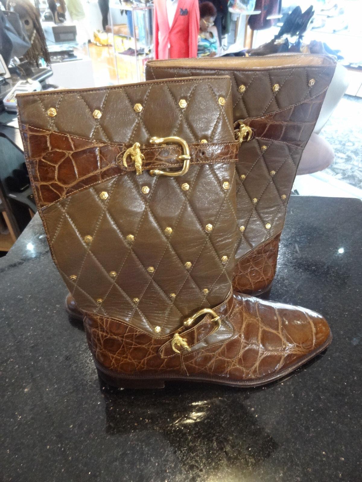 Mauri Marrón Cuero De Cocodrilo Acolchado Stud botas para hombre monkstrap 9.5 precio de venta sugerido por el fabricante