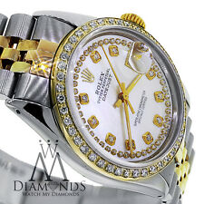 Rolex DateJust 116233 36mm Mother of Pearl Double Row Diamond Dial 18K/SS Watch