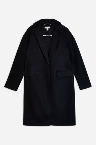 Uk Coat Relaxed Fit Topshop Black Bnwt 16 IfqXW